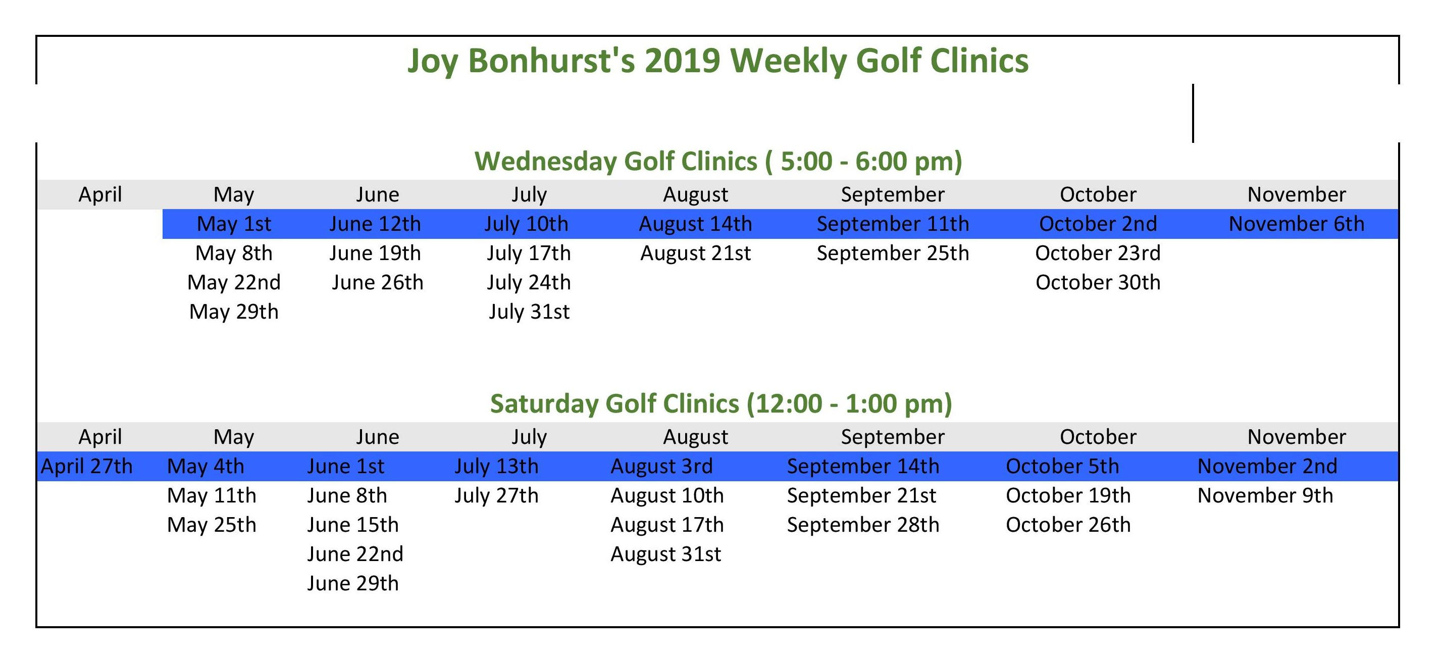 Joy's 2019 Golf Clinic Schedule Sheet1